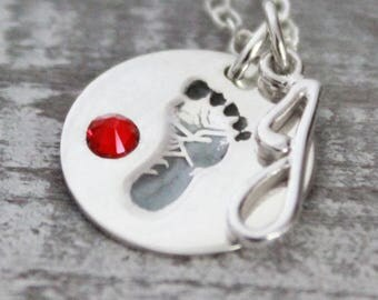 Personalized Baby Necklace, Baby Footprint Charm Necklace, Baby Birthstone and Initial Necklace,