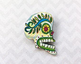 Sugar Skull Brooch, Skull Pin, Day of the Dead Brooch, Day of the Dead Skull, Cinco de Mayo, Kitsch Brooch, Rockabilly Brooch, Pinup Brooch,