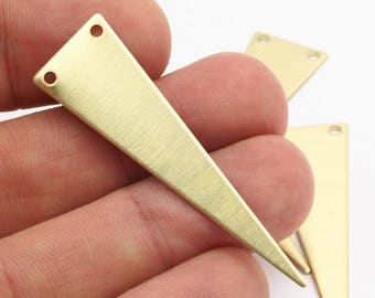 Brass Triangle Charm, 10 Raw Brass Triangles With 2 Holes (14x50x0.80mm) A0791