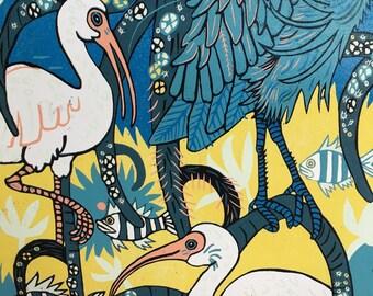 Large woodcut, big wall art, Florida Mangroves, ibis, diamondback terrapin, spoonbills, kingfisher