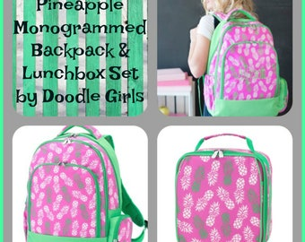 2 piece Pineapple Backpack and Lunchbox set.  Girls Monogram backpack. Monogram lunchbox.