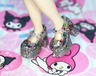 Blythe Clear with various glitter and stars Platform Mary Jane Doll shoes