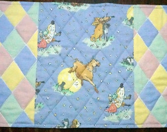 OOAK Quilted Nursery Rhyme Place Mat for Children, Kids, Toddlers Reverses to Halloween Witches