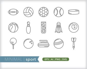 Minimal sport line icons | EPS AI PNG | Geometric Recreation Clipart Design Elements Digital Download