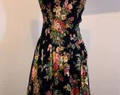 "Winter SALE Black Rose Floral Cotton Sun Dress E.D. Michaels Ruched Bodice Scoop Back Full Midi Skirt Vintage 1980s Med 28-32"" Waist"