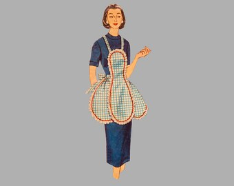 "Simplicity 4479 One-Yard Apron of 35"" fabric sewing pattern Half aprons Four pockets Full apron Shoulder straps One size fits all Complete"
