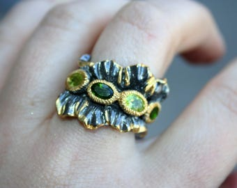 Sale...14 K gold over  925 Sterling Silver with peridot   stones ,Rhodolite Ring , One of a kind ,so Elegant