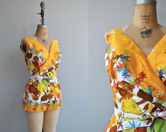 Endless Weekend swimsuit | vintage 1960s bathing suit | floral 60s playsuit romper