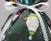 ON SALE Christmas Fabric Gift Bag Santa Reindeer Snowman on Dark Green