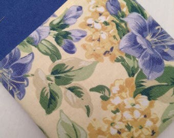 """Macbook 13"""" padded sleeve /Macbook 13"""" pro/  made in Maine/ Blue and Yellow Flowers"""