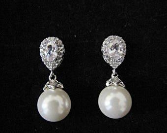 Pearl drop bridal earrings wedding vintage style Art Deco 1920/30s style pearl crystal drop wedding bridal earrings silver wedding jewelry