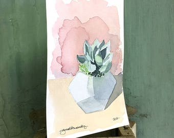 succulent / original watercolor / one of a kind painting