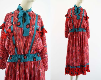 Diane Freis 1980's Vintage Georgette Bold Pink and Teal Festival Dress