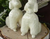 Poodle Couple Wedding Cake Topper from vintage 1960 Mold Ceramic White Kissing Sitting  Poodles bows and bow tie