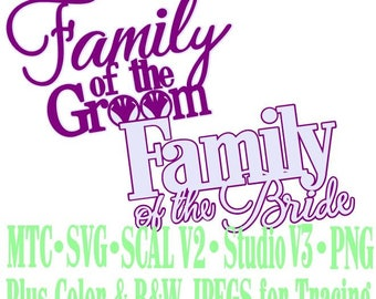 Wedding Words Family of Groom Bride Cut Files MTC SVG SCAL Format and more traceable