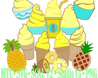 Pineapple Ice Cream Treats Amusement Park Embellishment  ScAL MTC SvG Cut Files JPEG PNG