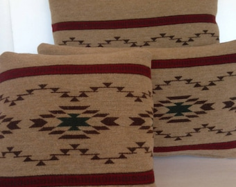Decorative Throw Pillow Cover Ralph Lauren Wool Tribal Boho Bohemian Native American Indian Cabin Cowboy Southwest Burgundy Red Brown Cream