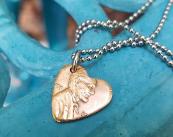 Penny Heart Pendant, Lucky Penny Pendant, Unique penny hearts, Penny from heaven pendant, Custom Penny Pendant, Penny Jewelry