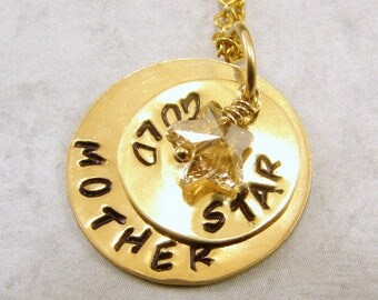 Gold Star Mother Necklace, Hand Stamped, With Swarovski  Crystal Dangles Pendant Necklace