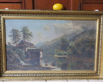 Antique Large Framed Landscape Painting English Cottage/Cows/Lakes/Mountains