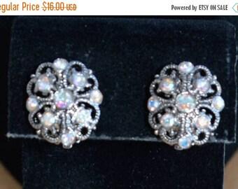 On sale Pretty Vintage Aurora Borealis Rhinestone Floral Clip Earrings, Silver tone (T11)