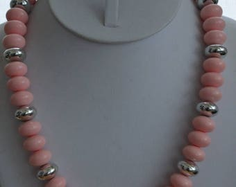 """On sale Pretty Vintage Pink Plastic Beaded Necklace, Silver tone, 20"""""""