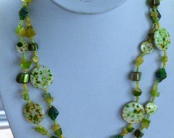 """ON SALE Peridot Green, Yellow Glass Beaded Double Strand Necklace, Vintage, 17-1/2""""-21-1/2"""""""