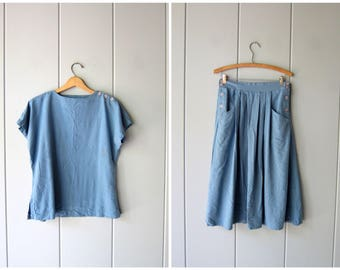 Minimal SILK Knit Top & Skirt SET Natural Woven Dusty Blue Silk Vintage Top High Waist Pleated Skirt Modern Preppy Women Small Medium