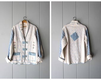 Oversized White Cotton Jacket 90s Patchwork Thick Knit Quilted Blazer Vintage Floral Embroidered Coat Cottage Chic Sweater Womens Large XL