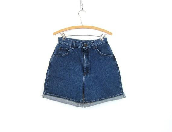 90s Dark Wash Blue Jean Shorts High Waist Denim Shorts Vintage Lee MOM Shorts Jean Hipster Street Style Women Medium 10 Long 28 Inch Waist