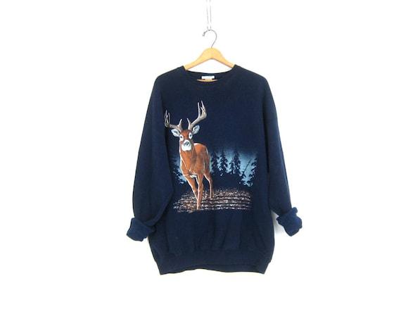 Blue Deer sweatshirt Unisex Jumper sweater Hipster Shirt Nature Outdoor Hunting Novelty Rugged Animal Sportsman Sweatshirt size 2XL XXL