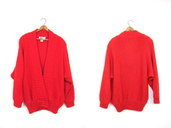 Vintage red sweater coat 80s Oversized thick knit Coat Chunky Fuzzy Knit Sweater Long cardigan with pockets Cocoon sweater Large