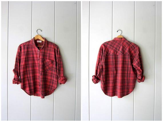 Vintage 80s Red Plaid Shirt Black Cotton Grunge Shirt Boyfriend Button Up Long Sleeve Boxy Slouchy Boho Tomboy Shirt Womens Medium