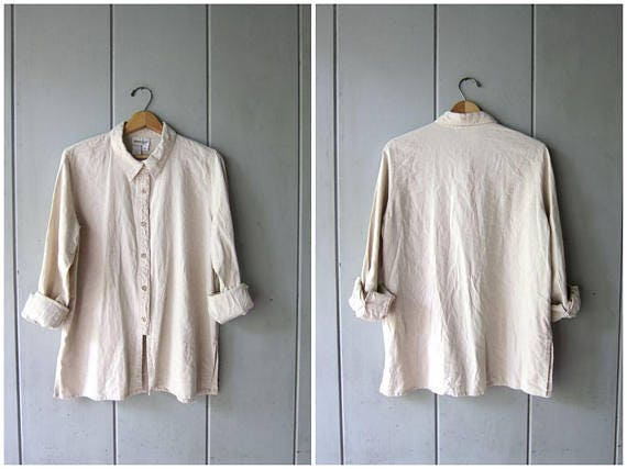 Natural Linen Button Up Shirt 90s Fringed Textured Linen Blouse Long Sleeve Casual Shirt Minimal Rayon Shirt Oversized Womens Large