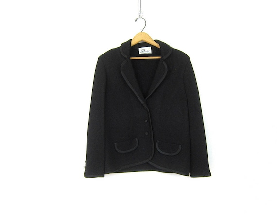 Black Knit Blazer Jacket Fitted Vintage Black Layering Coat Minimal Blazer Modern Fall Jacket Womens Size Medium Large