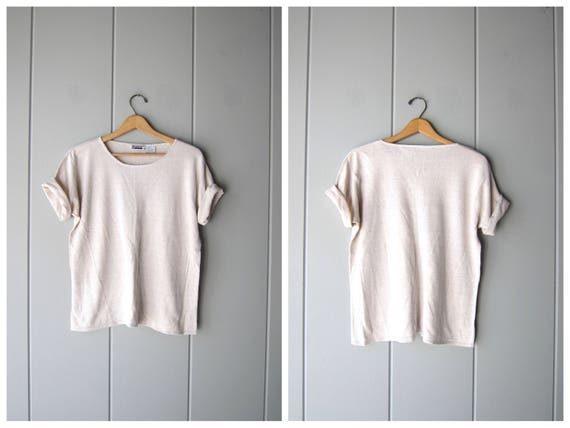 Minimal Linen Tshirt Basic Cotton Linen Top Natural Minimal Thin Tee Short Sleeve Boxy Shirt Vintage 90s Beige Knit Top Womens Large
