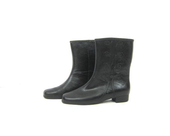 Vintage Black Rubber Rain Boots Black Rubber Waterproof Rainboots Tall Mid Calf Galoshes Retro Rubbers Women's Shoes Size 9