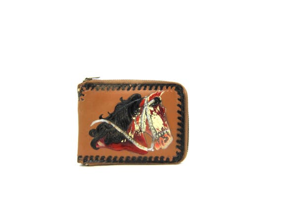 Tooled leather billfold Painted Horse wallet hand tooled Western wallet fold wallet 70s vintage Zipper Pouch wallet Distressed