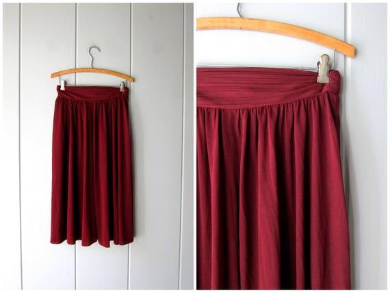 """Minimal Berry Plum Skirt 70s Thin Sheer Slip Skirt High Waist Midi Skirt Vintage Airy Boho Dark Pink Skirt Womens XS Small Waist 25"""" 26"""""""