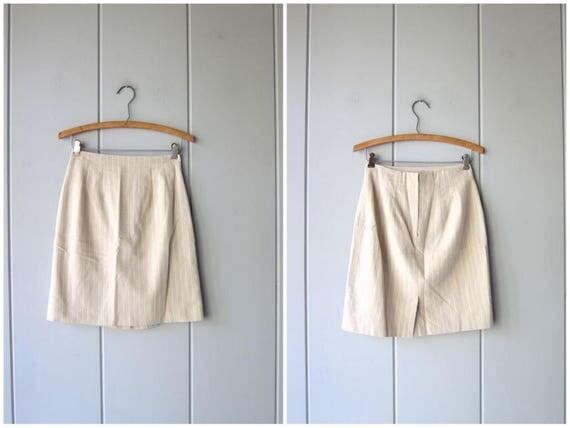 Natural Linen & Cotton Mini Skirt 90s High Waist Minimal Skirt Vintage Beige White Striped Modern Preppy Girl Skirt Womens XS