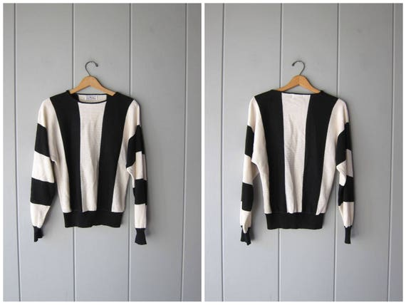 80s BLACK WHITE Sweater Thin Knit Dolman Sleeve Sweater Bold Striped Slouchy Sweater Top Vintage Basic Pullover Sweater Womens Medium Large