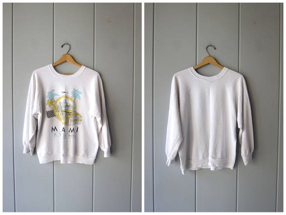 "80s MIAMI ""A State Of Mind"" Sweatshirt Vintage Raglan Sweatshirt Distressed Hipster Novelty State Souvenir THIN Sweatshirt Worn In Large"