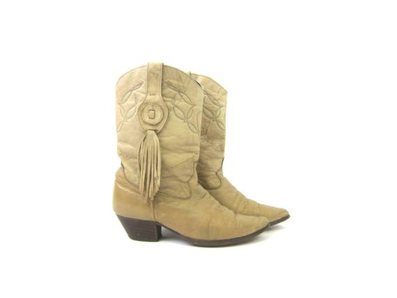 Leather Laredo Boots Western COWGIRL Boots Bohemian Leather Stacked Heel Booties Boho Low Calf Boots Women's Size 8 M
