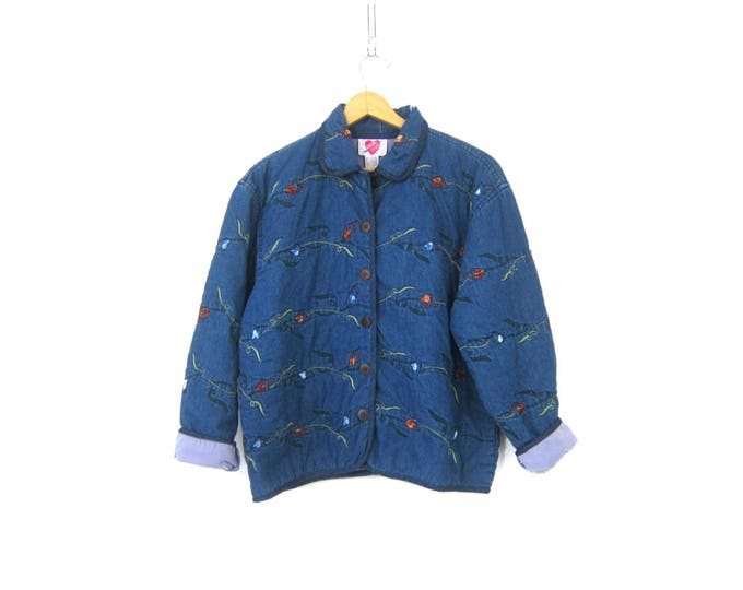 Embroidered Jean Jacket Long Sleeve Denim Coat Button Up Cotton Jacket w Pockets Preppy Floral Fall Coat Womens Size Large