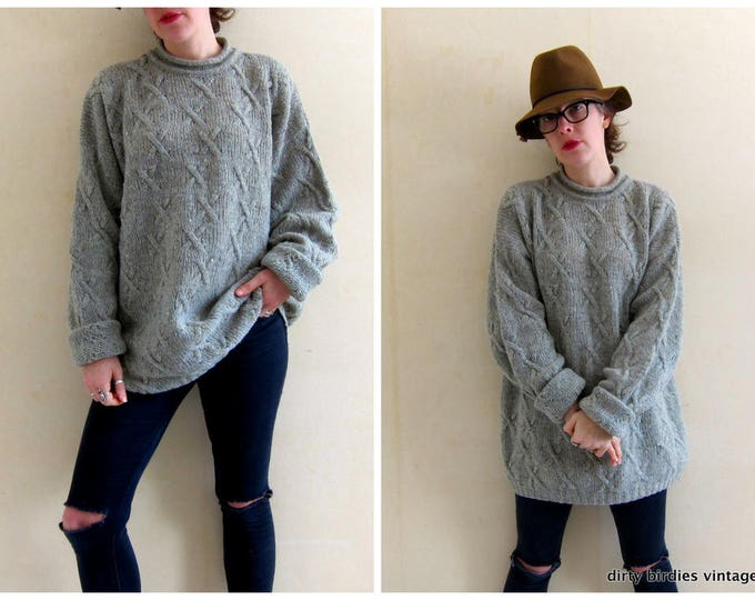90s Irish Sweater | Speckled Wool Sweater | Oversized Long Tunic Sweater | Sage Green Wool Jumper | Womens XL