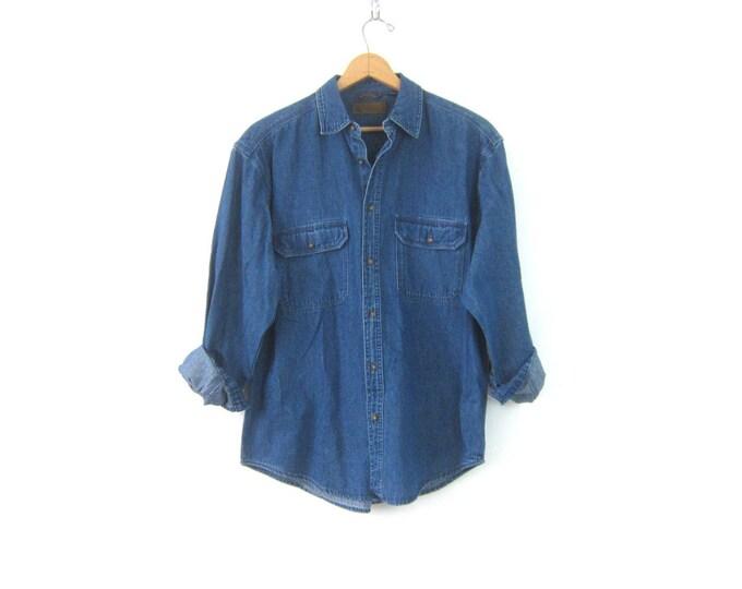 Vintage Jean shirt button down Oversized Denim Boyfriend Shirt 90s Casual Preppy Shirt Normcore Gender Neutral Size Medium Large