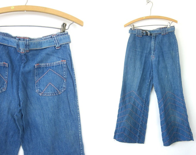 1970s Faded Capital Blue Jeans Hipster Light Wash Denim Embroidered Belbottom Jeans Hippie Vintage 70s Bohemian Trousers Waist 28  x 26 Inch