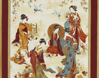 "24"" Fabric Panel - Timeless Treasures Kyoto Geisha & Crane Panel Rust"
