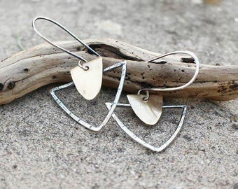 Brass (or copper) & Silver Arrowhead Earrings