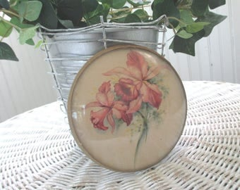 Vintage Convex Frame * Floral Print * 1930s - 1940s * Shabby Cottage * Old Farmhouse